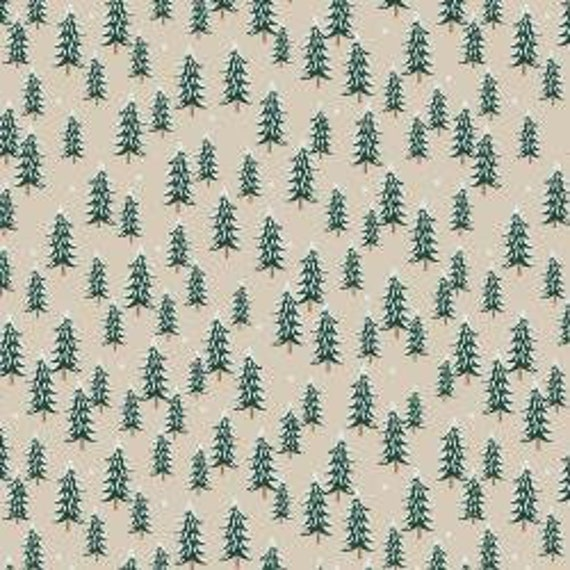 Holiday Classics,  Fir Trees, Linen (color) Fabric, RP604-LI2, By Rifle Paper Co, for Cotton and Steel, sold by the 1/2 yard or the yard
