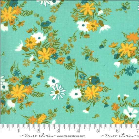 A Blooming Bunch Aqua, 40042 21 Moda, by Maureen McCormick, for Moda Fabrics, sold by the 1/2 yard or the yard