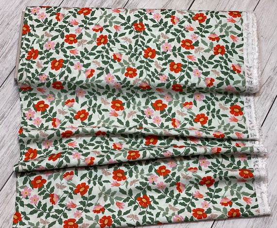 Strawberry Fields - Primrose - Mint RAYON Fabric-RP402-MI4R- Rifle Paper Co-Cotton and Steel/RJR- Sold by the 1/2 yard or the yard