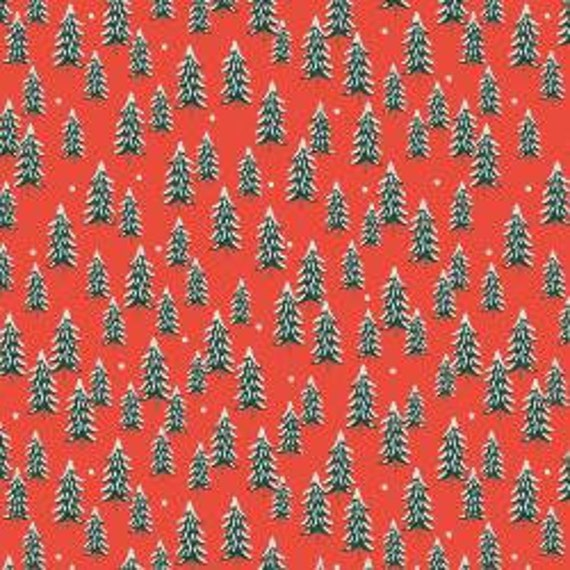 Holiday Classics,  Fir Trees, Red Fabric, RP604-RE1, By Rifle Paper Co, for Cotton and Steel, sold by the 1/2 yard or the yard