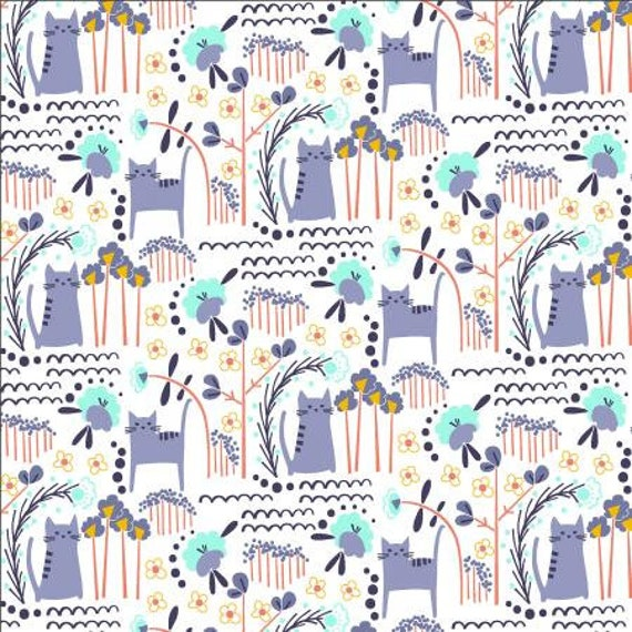 Glory - Elsies Cat - Summer Daze Fabric- MC201-SD1- Cotton + Steel- Sold by the 1/2 yard or the yard
