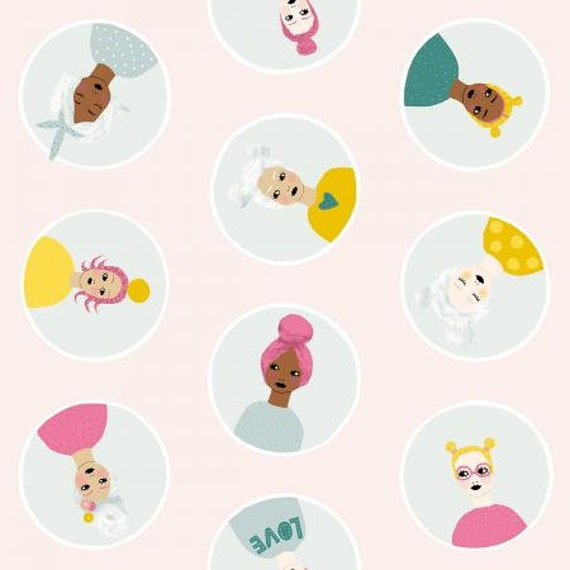 PK100-BL1 Girl's Club - Confetti Friends - Blush Fabric- By Piet en Kees- for Cotton and Steel/RJR- Sold by the half-yard cut continuous