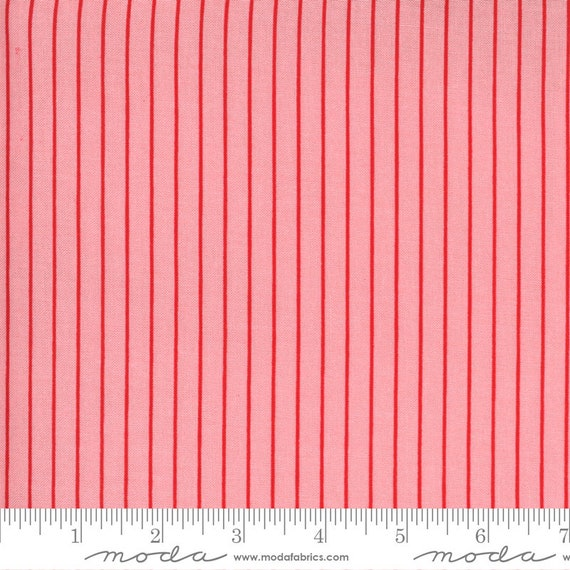 Sunday Stroll, Pink and Red Stripes, 55228 13 Moda, By Bonnie and Camille, for Moda, Sold by the 1/2 yard or the yard