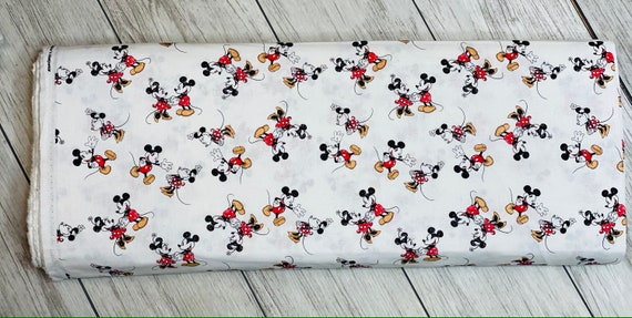 Mickey & Minnie Mouse- Vintage Scattered - Cotton- Sold by the 1/2 yard or the yard cut continuous from bolt