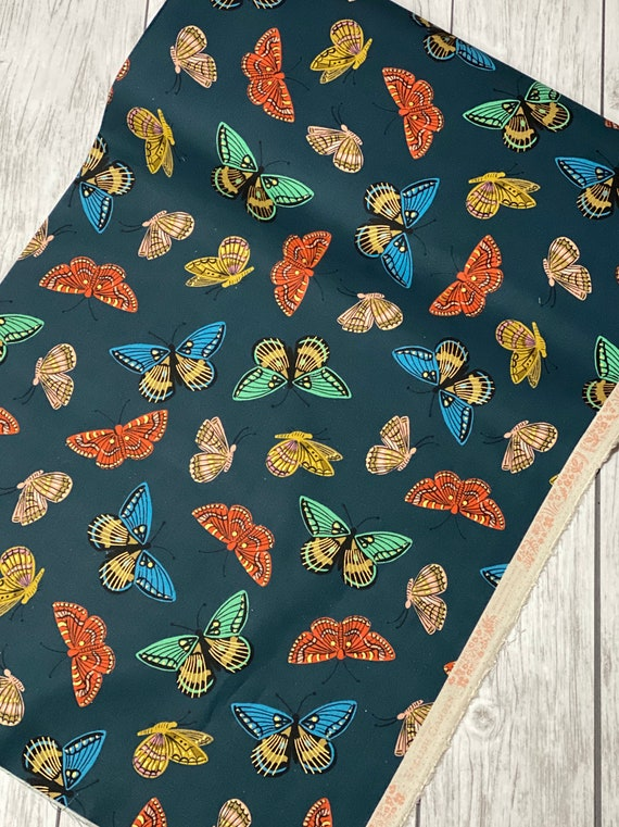 AB8065-022 English Garden - Monarch - Navy CANVAS Metallic Fabric-Rifle Paper Co- Cotton and Steel- Sold by the half-yard or the yard