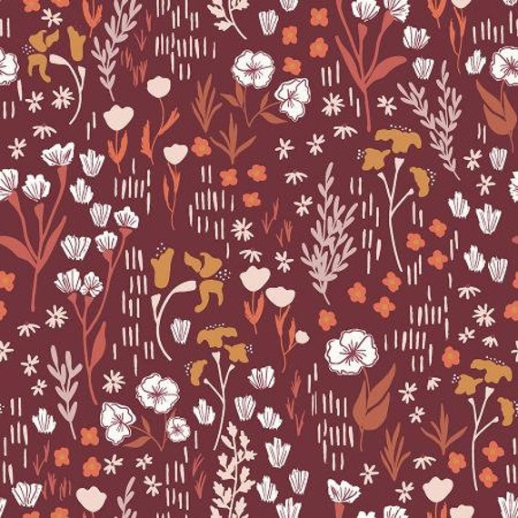 Dear Isla - Meadow - Deep Rose Cotton Fabric- HJ201-DR2- Cotton and Steel/RJR- sold by the 1/2 yard or the yard cut continuous