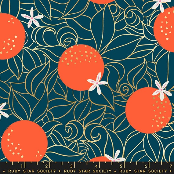 Florida Orange Blossoms, Peacock, By Sarah Watts, RS2025 14M Ruby Star, Moda Fabrics, sold by the 1/2 yard or the yard