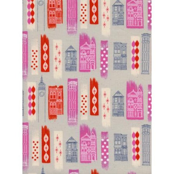 Jubilee - In The City - Pink Unbleached Cotton White Pigment Fabric-Cotton and Steel-RJR-M0043-002-Sold by the half-yard cut continuous