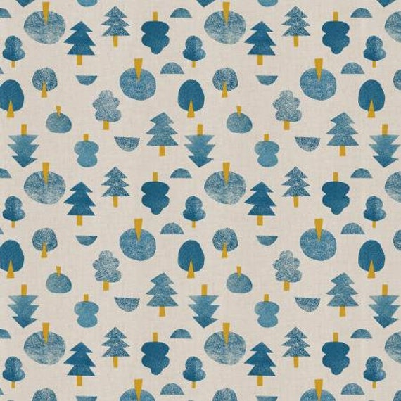 Neko and Tori - Tiny Trees - Blue Unbleached Fabric- Cotton and Steel- RJR- IN101-BL3U- sold by the 1/2 yard or the yard cut continuous