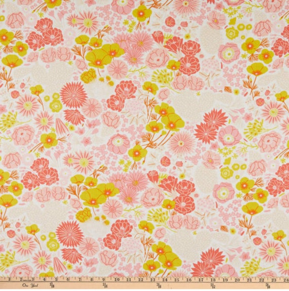 Prickly Pear-Flowers Beige, by Emily Taylor designs for Figo Fabrics, sold by the 1/2 yard or the yard