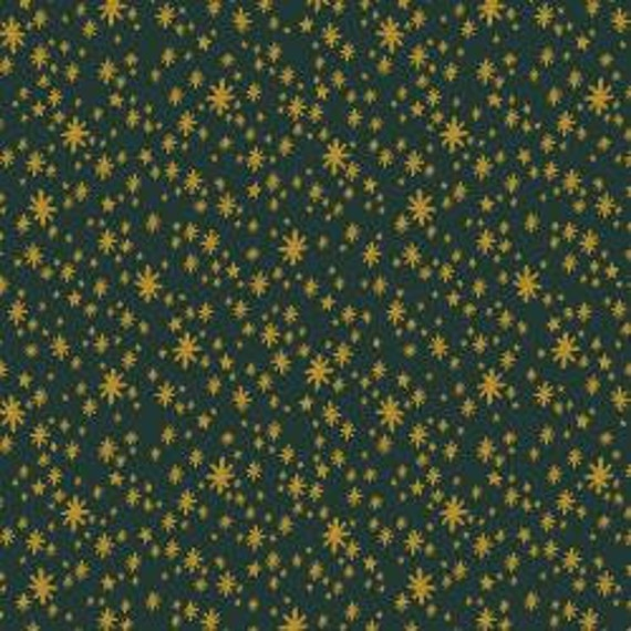 Holiday Classics,  Starry Night, Evergreen Metallic Fabric, RP607-EV1M, Rifle Paper Co, Cotton and Steel, sold by the 1/2 yard or the yard