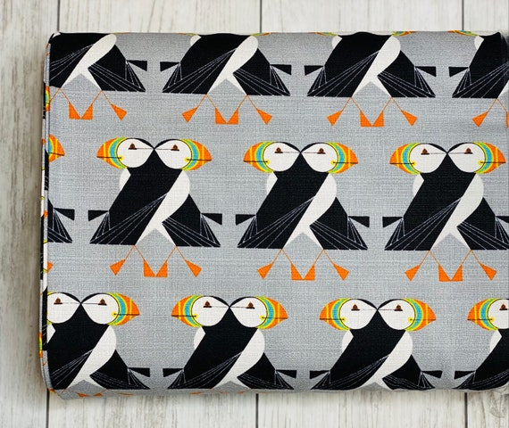Puffins Passing, Charlie Harper, Organic Barkcloth, sold by the 1/2 yard or the yard