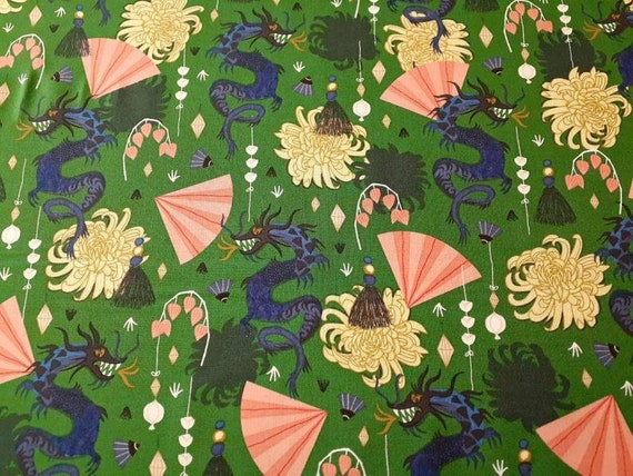 Fierce Green, Dragon Fabric with Golden Chrysanthemum, Dragons and Lanterns Collection, Organic Cotton, cloud9, by the 1/2 yard or the yard