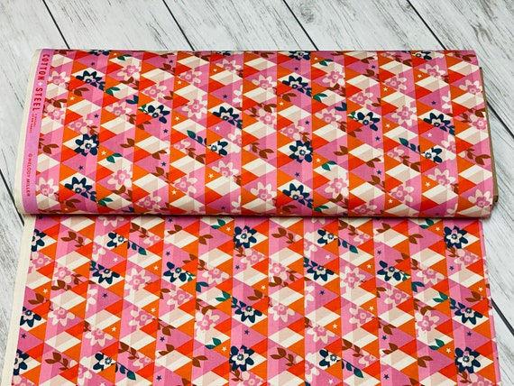 M0059-003 Flutter - Kaleidoscope - Orange Unbleached Cotton Fabric- Cotton and Steel-RJR-  Sold by the half-yard cut continuous