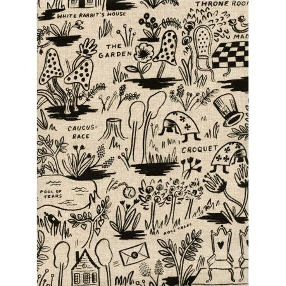 AB8027-012 Wonderland - Magic Forest - Natural CANVAS Fabric- Rifle Paper Co- Cotton and Steel- RJR- sold by the 1/2 yard or the yard