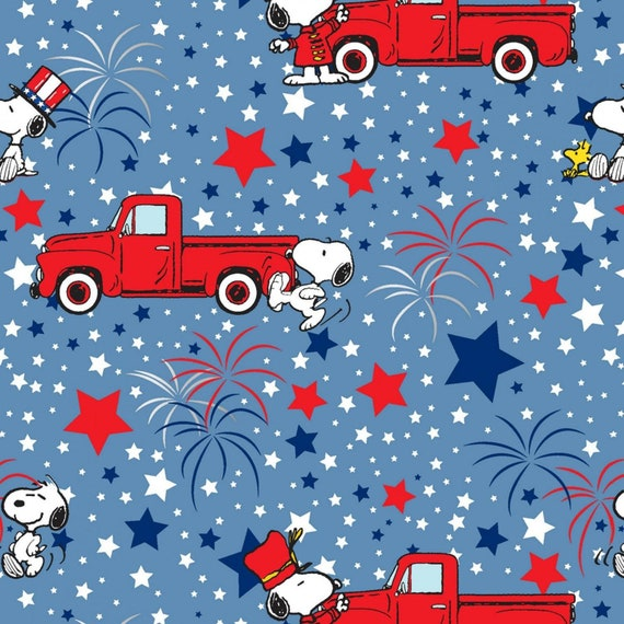 Blue- Peanuts Patriotic Fabric, Snoopy- Red Truck and Stars, Sold by the 1/2 yard or the yard