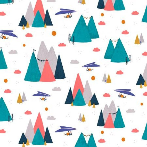 AE200-AQ2 Summer Skies - Mountain Skies - Aqua Fabric- Cotton and Steel/RJR- Sold by the 1/2 yard or the yard