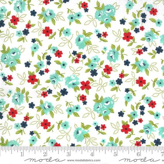 Sunday Stroll White/Aqua, 55222 11 Moda, By Bonnie and Camille, for Moda, Sold by the 1/2 yard or the yard