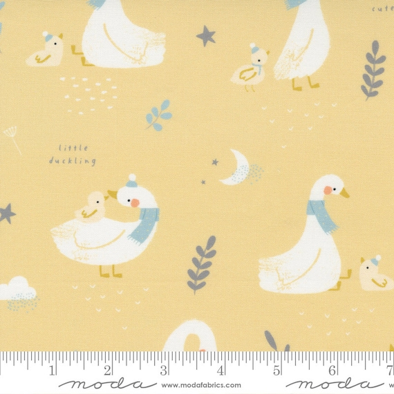 Little Ducklings, Main in Mustard, 25100 16 Moda, By Paper And Cloth, Sold by the 1/2 yard or the yard