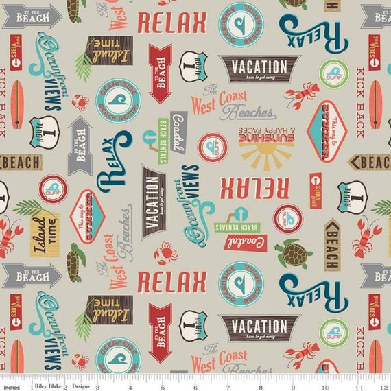 Offshore 2 Collection, Retro Beach Signs in Tan from Riley Blake Fabric's, sold by the 1/2 yard