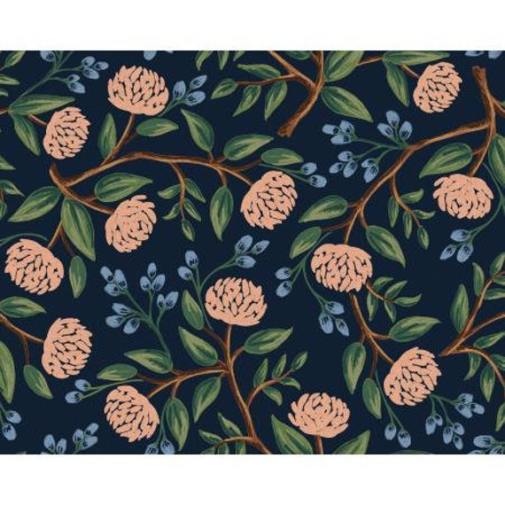 CANVAS Wildwood Peonies Navy Blue on CANVAS by Rifle Paper Co. for Cotton and Steel, sold by the 1/2 yard or the yard