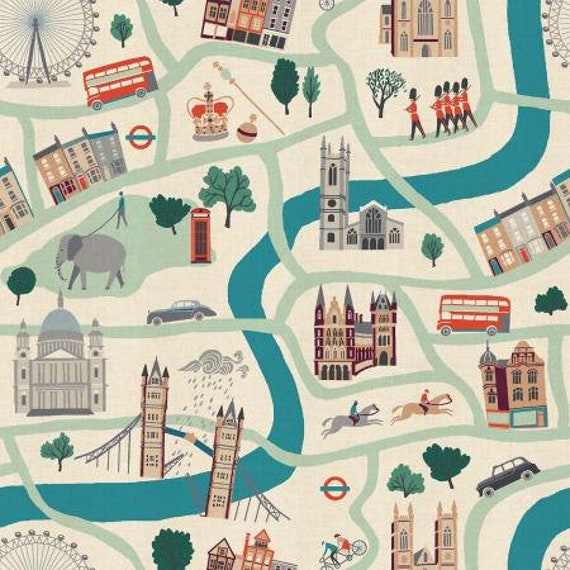 LONDON TOWN - London Forever White Cream Teal Main - Sara Mulvanny - Cotton & Steel-Unbleached Fabric-  Sold by the half-yard or the yard