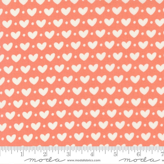 Sincerely Yours Coral Hearts, 37610 15 Moda, By Sherri & Chelsi, sold by the 1/2 yard or the yard