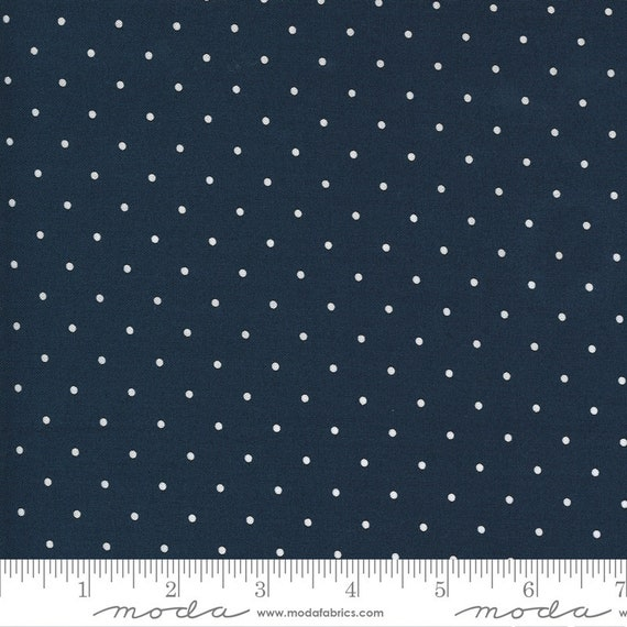 Sunday Stroll, Navy and White dots, 55226 15 Moda, By Bonnie and Camille, for Moda, Sold by the 1/2 yard or the yard