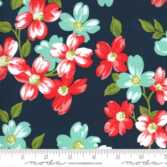 Sunday Stroll, Navy, ROT Coated (laminated cotton fabirc), by Bonnie & Camille, 55220 15C, Moda, sold by the yard