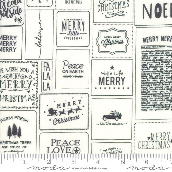 The Christmas Card Cream Charco, By Sweetwater, 5770 13 Moda, Sold by the half-yard cut continuous