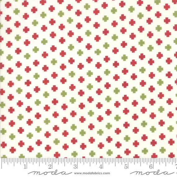 The Christmas Card, Red and Green plus signs, By Sweetwater, 5777 24 Moda, Sold by the half-yard cut continuous