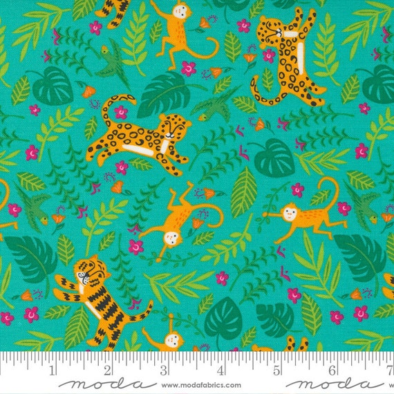 Jungle Paradise Peacock, 20783 18 Moda, Jungle Fun, Tigers Monkeys Birds Leopards, By Stacy Iest Hsu, sold by the 1/2 yard or the yard