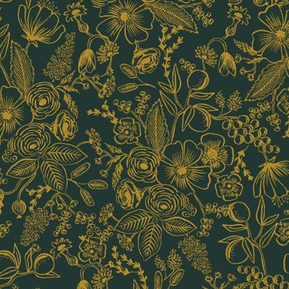 Holiday Classics - Colette - Evergreen Metallic Fabric- RP610-EV1M- Rifle Paper Co for Cotton and Steel, sold by the 1/2 yard or the yard