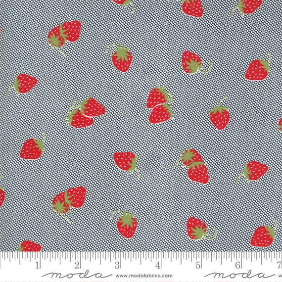 Sunday Stroll Navy, Strawberries,  55223 15 Moda, By Bonnie and Camille, for Moda Fabrics, sold by the 1/2 yard or the yard