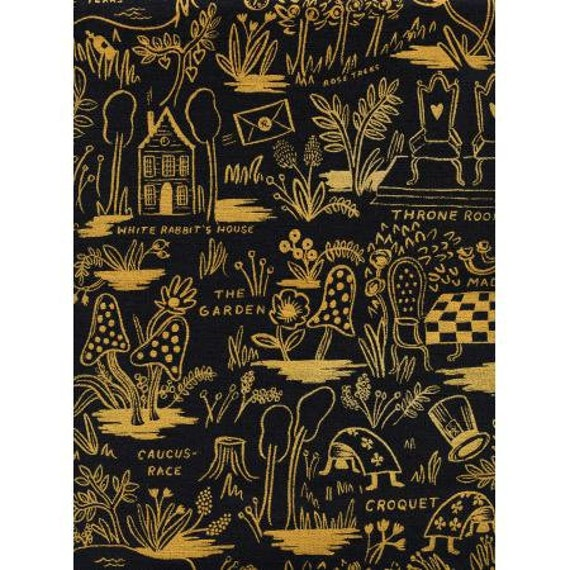 Wonderland - Magic Forest - Charcoal Canvas Metallic Fabric-  AB8027-032- Rifle Paper Co- Cotton and Steel- Sold by the 1/2 yard or the yard