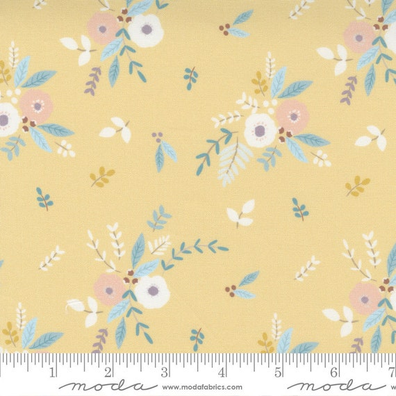 Little Ducklings Flowers in Mustard, 25101 16 Moda, By Paper And Cloth, Sold by the 1/2 yard or the yard  Content / Media:100% Cotton
