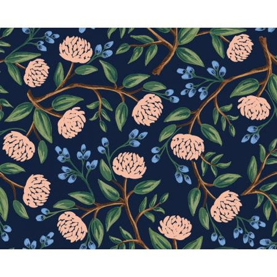 RP102-NA2 Wildwood - Peonies - Navy Fabric- Rifle Paper Co-Cotton and Steel-RJR- Sold by the 1/2 yard or the yard