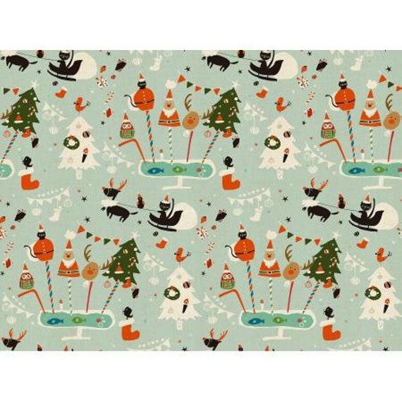 NM200-AQ2U Waku Waku Christmas - Holiday Party - Aqua Unbleached Fabric, Sold by the 1/2 yard or the yard