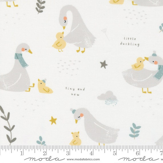 Little Ducklings, Main in White, 25100 11 Moda, By Paper And Cloth, Sold by the 1/2 yard or the yard