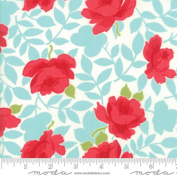 """54"""" Little Snippets Aqua- Flowers-By Bonnie and Camille-55180 12LW Moda Lawns- Sold by the half-yard cut continuous"""