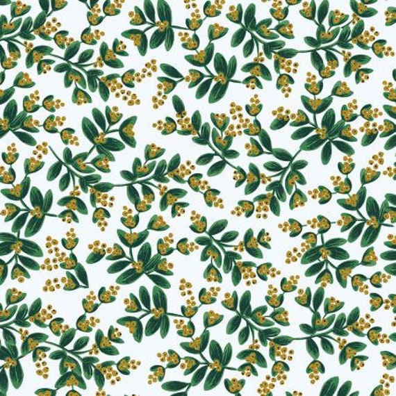 Holiday Classics - Mistletoe - White Metallic Fabric- RP601-WH3M- Rifle Paper Co.- Cotton + Steel- sold by the 1/2 yard or the yard