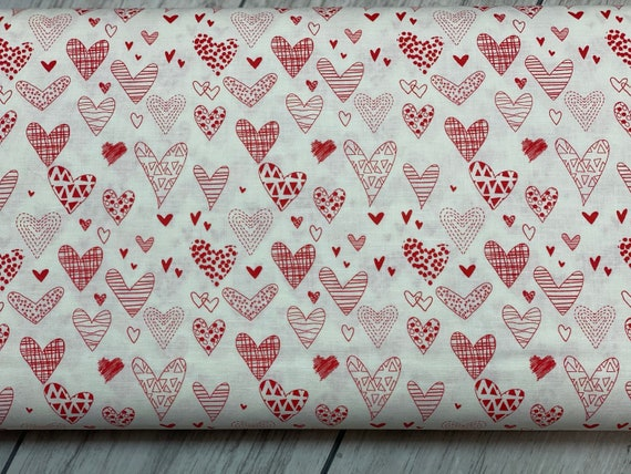 From the Heart, Hearts- Cream, by Sandy Gervais, for Riley Blake Designs, sold by the 1/2 yard or the yard