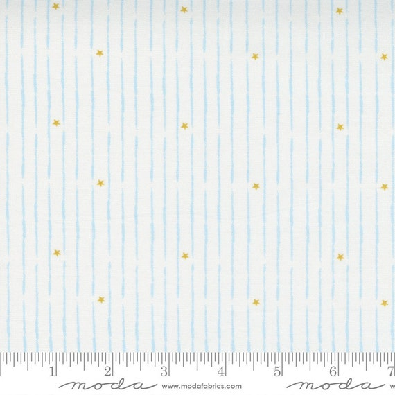 Little Ducklings, White and blue, Shooting Stars, 25108 21 Moda, By Paper And Cloth, Sold by the 1/2 yard or the yard