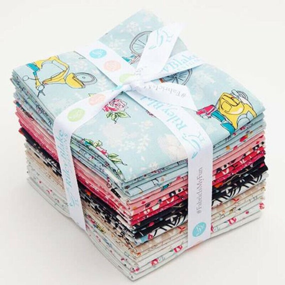 Someday Fat Quarter Bundle, (21pcs), Riley Blake, Minki Kim, Precuts, Contemporary, Multi Color/Pattern, Bicycles, Floral, Collection