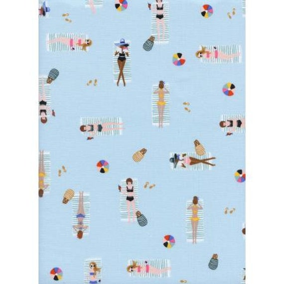 AB8047-002 Amalfi - Sun Girls - Sky Fabric by Rifle Paper Co, for Cotton and Steel, sold by the 1/2 yard or yard