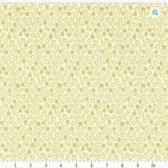 A Blooming Bunch Avocado Ditsy Yardage, 40047-21, by Maureen McCormick, for Moda Fabrics, sold by the 1/2 yard or the yard