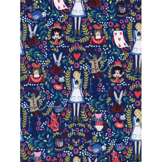 Wonderland - Navy Metallic Fabric-AB8013-001- Quilting Cotton- Rifle Paper Co- Cotton+Steel/ RJR sold by the 1/2 yard or the yard