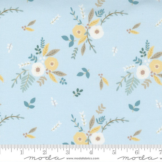 Little Ducklings Flowers in Blue, 25101 15 Moda, By Paper And Cloth, Sold by the 1/2 yard or the yard
