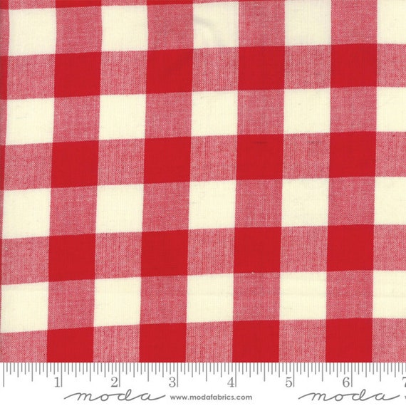 Picnic Basket Red Woven Large Check for Moda Fabrics (12134 11) - Red Woven Gingham sold by the 1/2 Yard - Cut Continuously