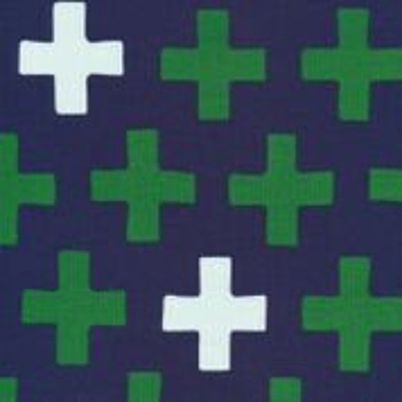 Cloud9 Fabrics Organic Interlock Knit Cross Navy Fabric- Sold by the yard